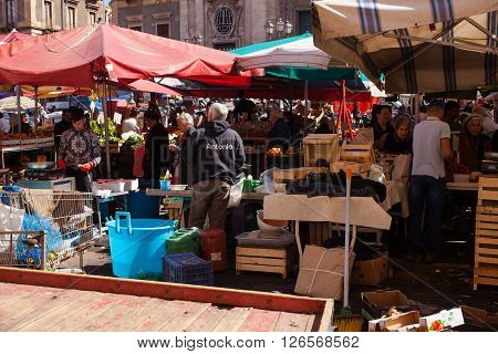 CATANIA ITALY - MARCH 31: View of open air fruit market on March 31 2016