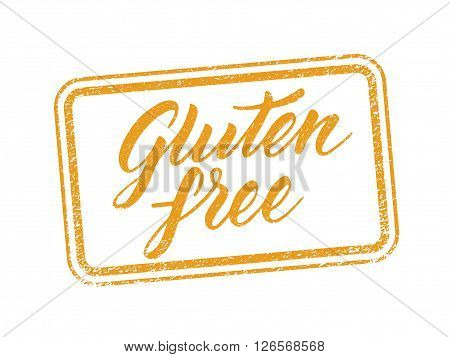 Gluten free stamp with hand drawn letterings isolated on white. Layered vector illustration, can be placed on any background you like. Label, badge template.