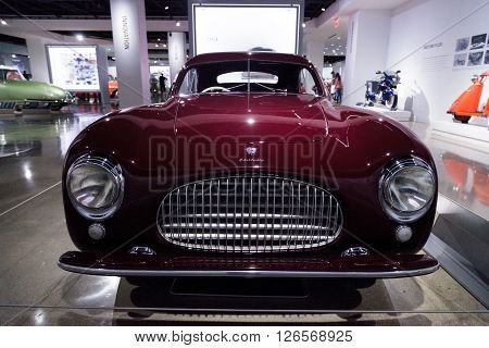 Los Angeles, CA, USA -- April 16, 2016: One of only 170 built, this 1947 Cisitalia 202 Coupe is now part of the Margie and Robert E. Petersen Collection at the Petersen Automotive Museum in Los Angeles, California, United States.