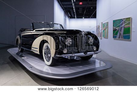 Los Angeles, CA, USA -- April 16, 2016: This 1953 Delahaye Type 178 by Chapron on display at the Petersen Automotive Museum in Los Angeles, California, United States. ** Note: Visible grain at 100%, best at smaller sizes