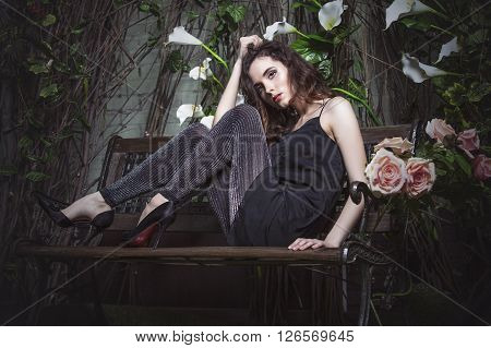 Beautiful Woman Model In The Night Garden In Stylish Dress Tunic And Leggings