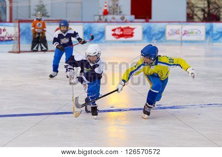 MOSCOW, RUSSIA - FEBRUARY 27, 2016: the final bandy tournament on the Red Square