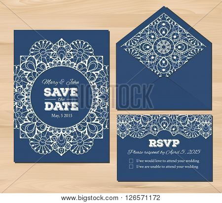 Wedding set with lace elements. Save the date invitation, RSVP card, envelope template on a wooden background. Seamless illustrator swatch for background included. Free fonts used - Nexa Rust, Alex Brush, Crimson