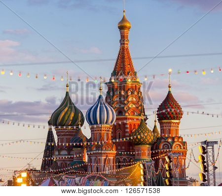 MOSCOW, RUSSIA - FEBRUARY 27, 2016:  Cathedral of Vasily the Blessed, known as Saint Basil's Cathedral