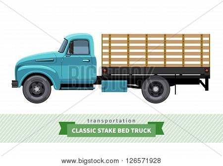 Classic Stake Bed Truck Side View