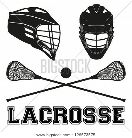 Lacrosse helmets and sticks and ball Flat and silhouette style Sport Equipment Front and Side View isolated on white background