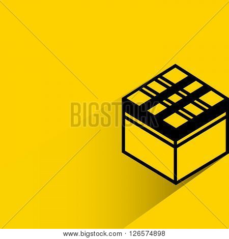 silhouette gift box with drop shadow on yellow background