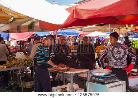 CATANIA ITALY - MARCH 31: View of open air market on March 31 2016