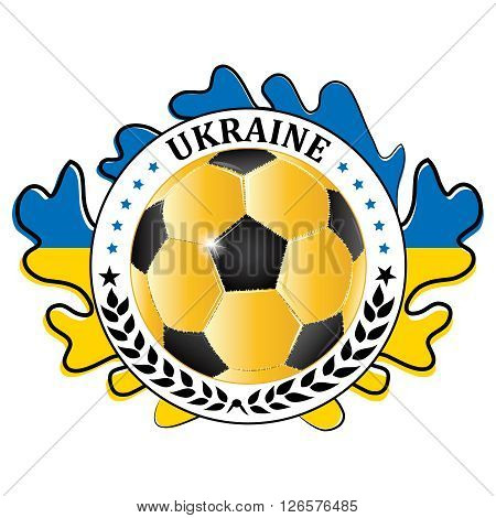 Ukraine 2016 football team sign, containing a soccer ball and the Ukrainian flag. Print colors used