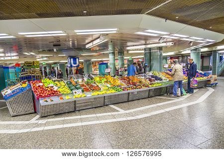 People Sell Fruits At The Train Station Hauptwache In Frankfurt