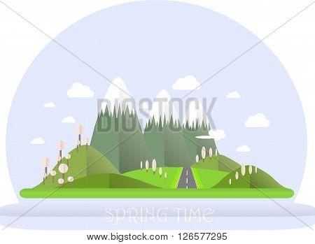 Series four seasons. Mountain landscape, road in spring time. Modern flat design, design element, vector