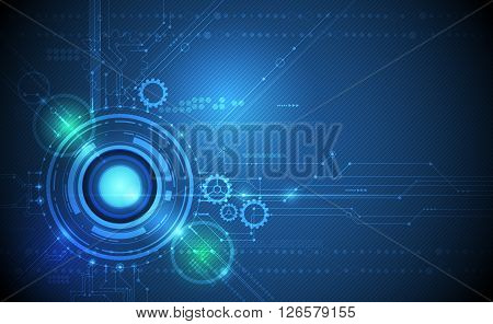 Vector Abstract futuristic eyeball and gear wheel on circuit board., Illustration high computer technology on green and blue color background. Hi-tech digital technology concept