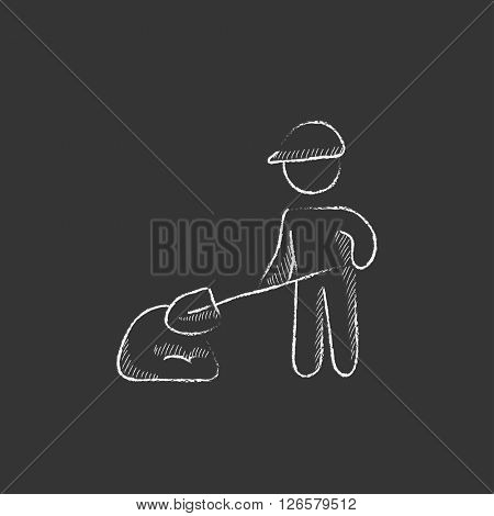 Man with shovel and hill of sand. Drawn in chalk icon.