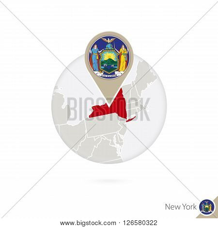 New York Us State Map And Flag In Circle. Map Of New York, New York Flag Pin. Map Of New York In The
