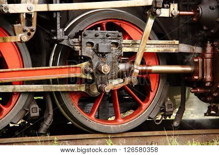 Detail of old steam engine wheel mechanism