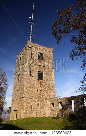 Old castle outlook tower with moder antenna