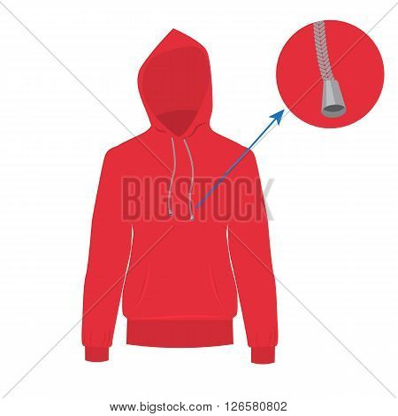 Hooded sweater. Vector Hoodie with solid and flat color design. Red Sweater for fashion concept infographic.