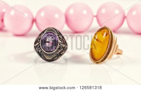 Vintage Silver Ring With A Large Amethyst And Gold Ring With Amber