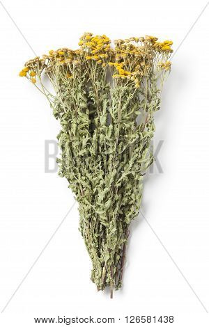 Dried herb Tansy - Tanacetum Vulgare or Common Tansy also Bitter Buttons isolated on white background.