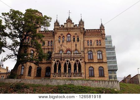 VILNIUS, LITHUANIA - JULY 20, 2015: Neo-Gothic building of Kalvariju castle - Palace of Lithuanian Architects Union in Vilnius, Lithuania.