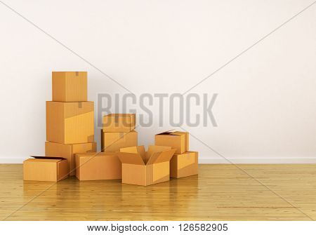 Box Cardboard Boxes on the floor against a white wall Shipping.3d illustrator