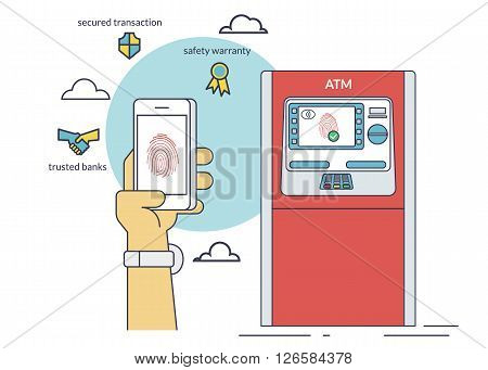 Mobile access to ATM via smartphone using fingerprint identification. Flat line contour illustration of payment via smartphone app