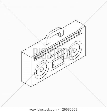 Cassette recorder icon in isometric 3d style isolated on white background