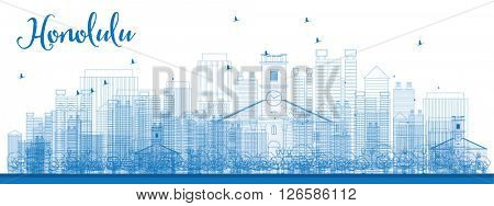 Outline Honolulu skyline with blue buildings. Hawaii. Vector illustration. Business travel and tourism concept with modern buildings. Image for presentation, banner, placard and web site.