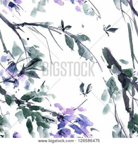 Watercolor and ink illustration of blossom tree. Gohua sumi-e u-sin painting. Seamless pattern.