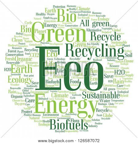 Vector concept or conceptual abstract green ecology or energy and conservation word cloud text isolated on white background