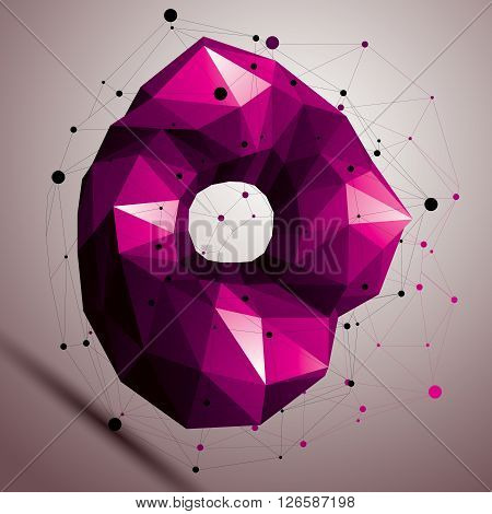 3D Vector Abstract Design Object, Polygonal Complicated Figure. Colorful Deformed Shape, Render.