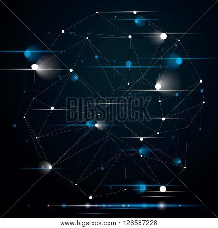 Geometric Abstract 3D Complicated Lattice Object With Sparkles, Single Color Asymmetric Element With