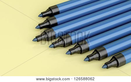 Close-up of blue permanent markers 3d illustration