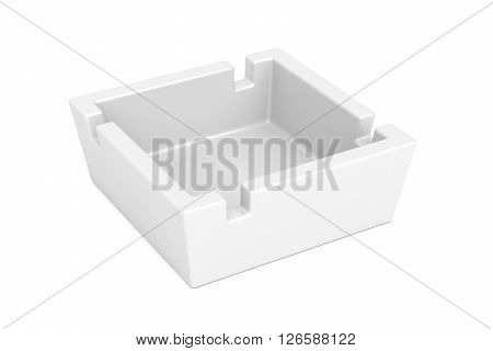 Empty ceramic ashtray on white background, 3d illustration