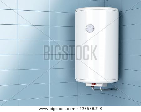 Water heater in the bathroom, 3d illustration