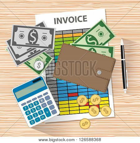 Invoice design, Calculator, wallet with cash and coins, pen on desk. Vector illustration in flat design on wooden background