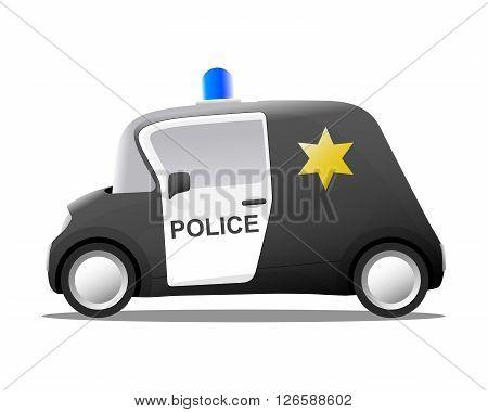 cartoon sheriff police car vector illustration black