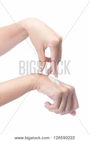 Woman Hands With Cream,woman Applying Cream Isolated On White With Clipping Path.