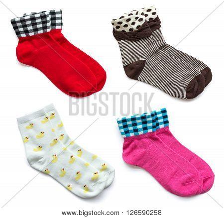 Set Of Socks Isolated On White Background