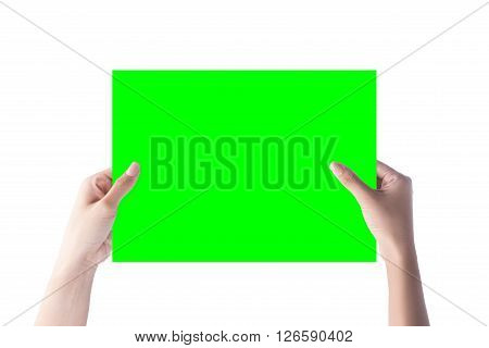 gesture of hand holding a blank paper isolated over white with clipping path.