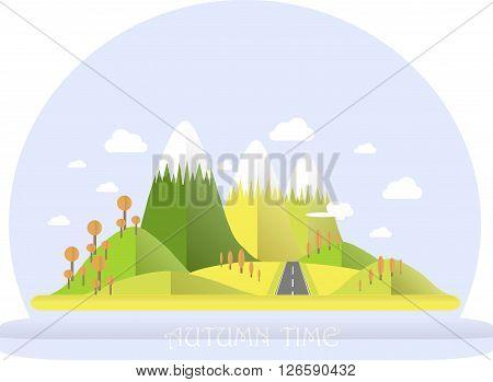 Series four seasons. Mountain landscape, road in autumn time. Modern flat design, design element, vector