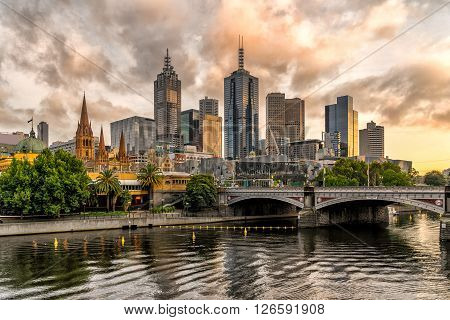 Looking across the Yarra River to Melbourne city