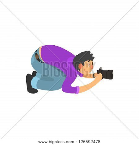 Man Taking Photo From Down Under Childish Style Flat Vector Drawing On White Background