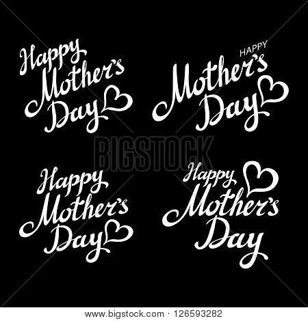 Happy Mother's Day Chalk Typography Greeting Cards Set. White Brush Letters With Rays On Dark Ba