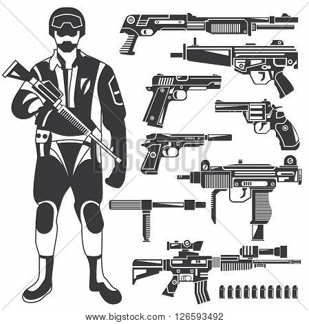 collection of soldier and weapons, policeman, gun icons