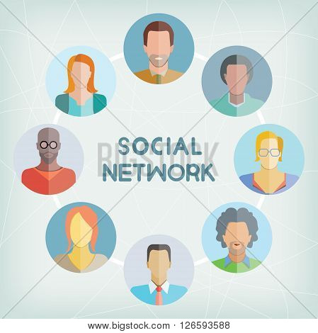 business people, teamwork and social network concept