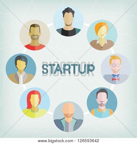 startup entrepreneur people group in blue background