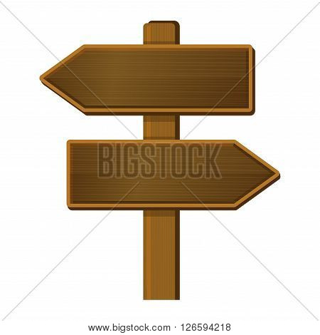 Wooden Arrow Signpost on White Background. Vector illustration