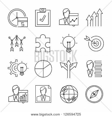 collection of 16 business icons outline theme