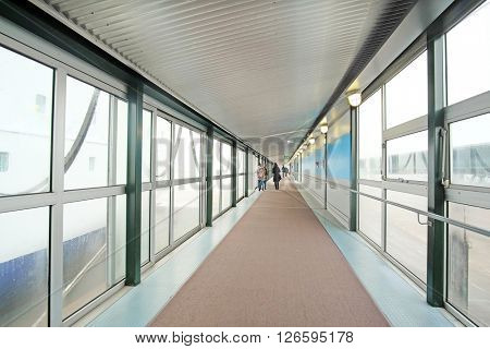 Corridor of the passenger terminal in Helsinki port, Finland